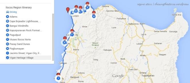 Our Ilocos trip itinerary route created via Google Maps! ;)